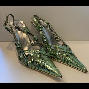 Aldo Green Metallic Snakeskin Slingbacks